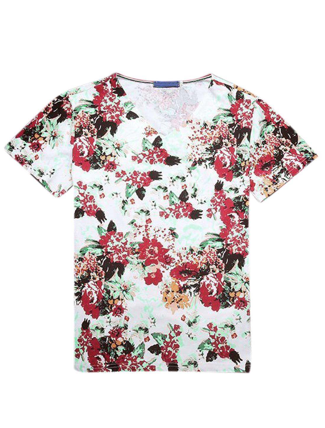 Men Short Sleeve V Neck Floral Print Casual Slim Fit T-Shirts White Burgundy S