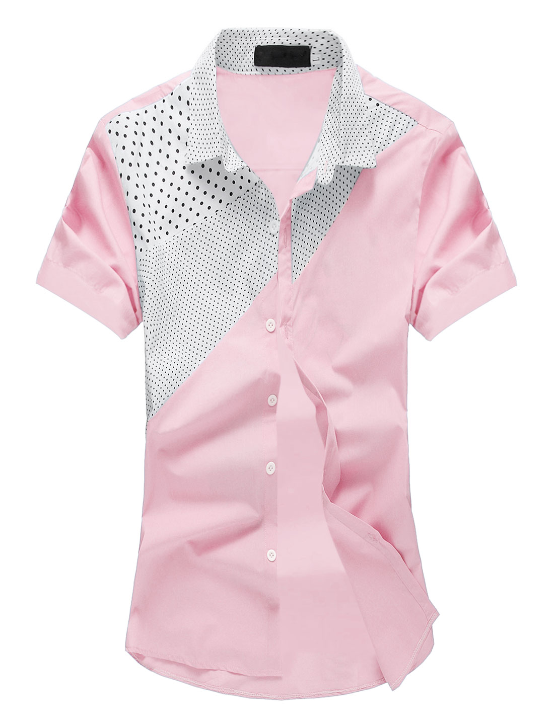 Men Dots Prints Contrast Color Point Collar Casual Shirt Light Pink M