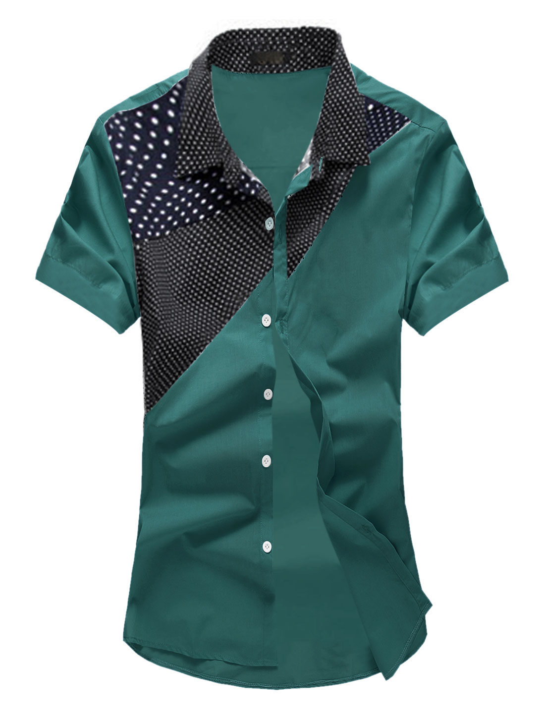 Men Polka Dots Prints Contrast Color Leisure Shirt Blackish Green M