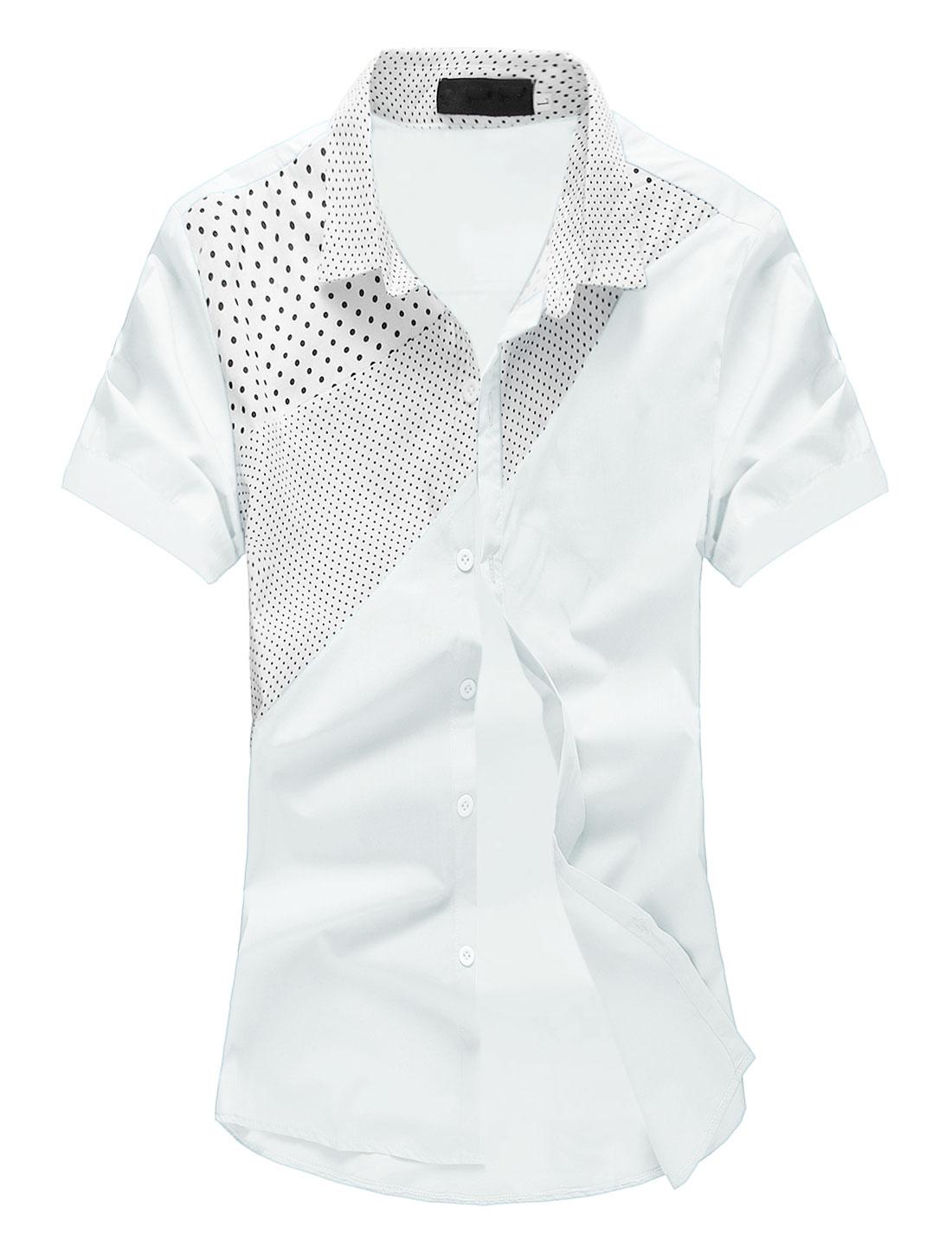 Men Dots Prints Color Block Round Hem Casual Shirt White M