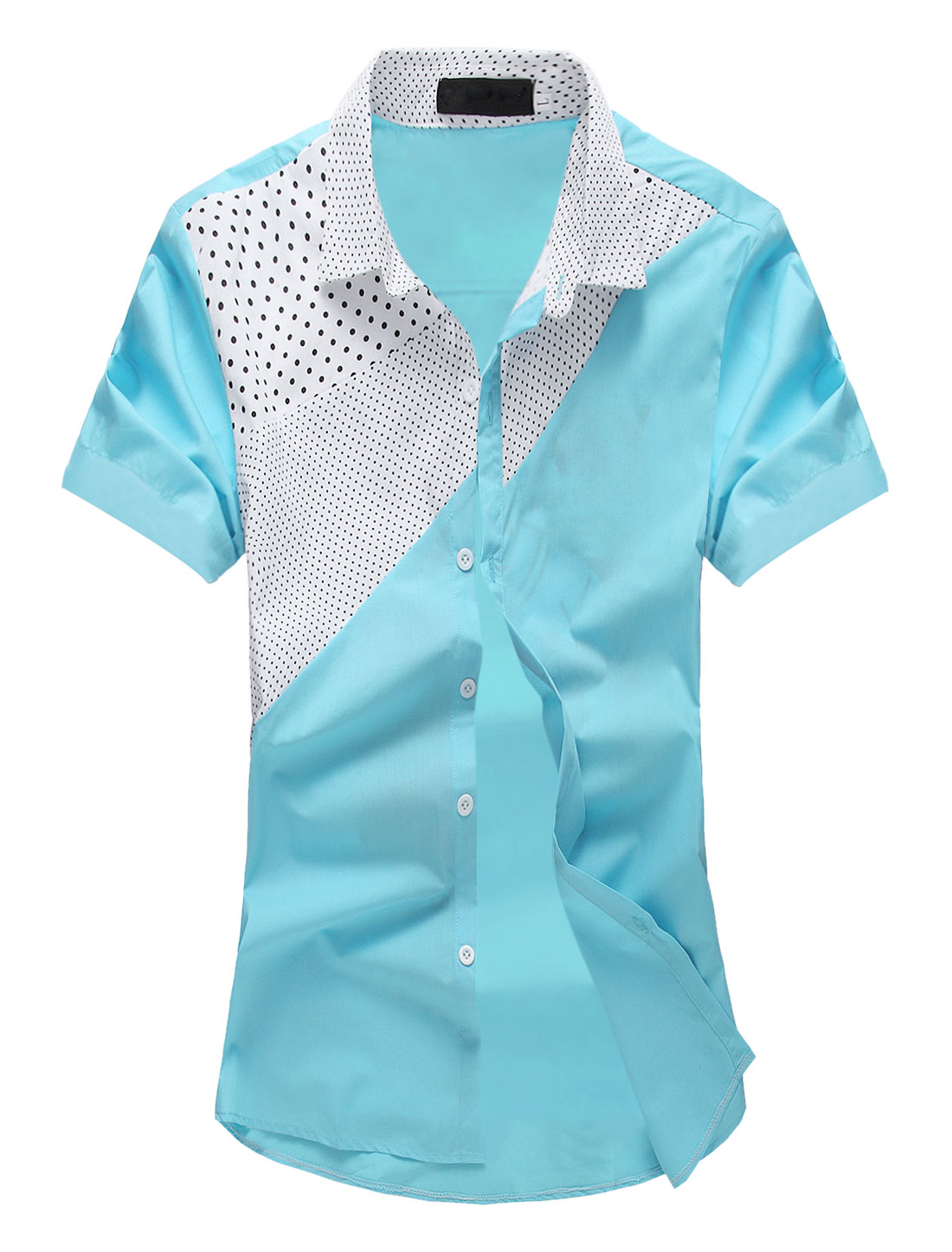 Men Dots Prints Color Block Button Closure Casual Shirt Sky Blue M