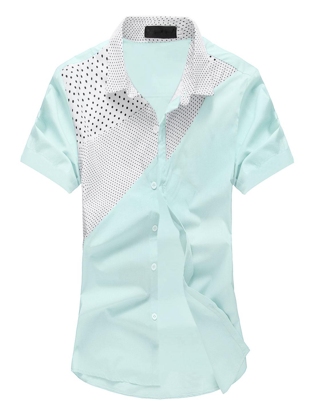 Men Dots Prints Short Sleeves Button Closed Casual Shirt Light Blue M