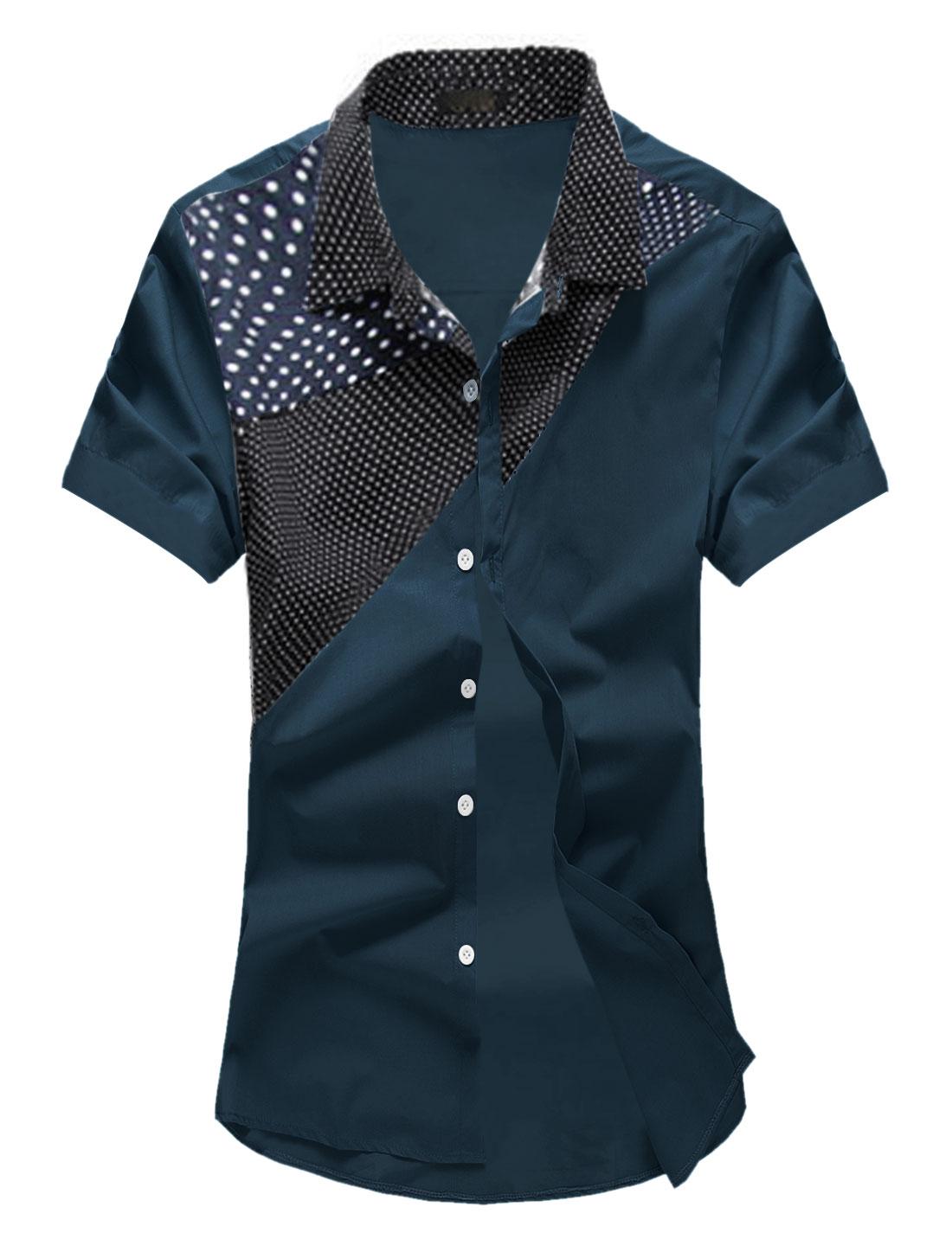 Men Dots Prints Point Collar Short Sleeves Panel Casual Shirt Navy Blue M