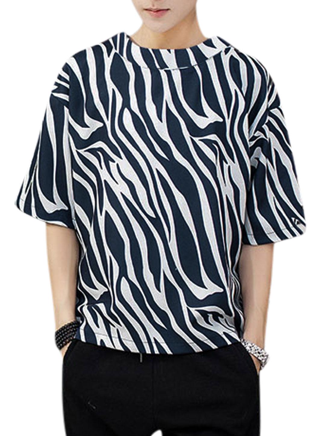 Men Elbow Sleeve Round Neck Zebra Prints T-Shirt Navy Blue White L