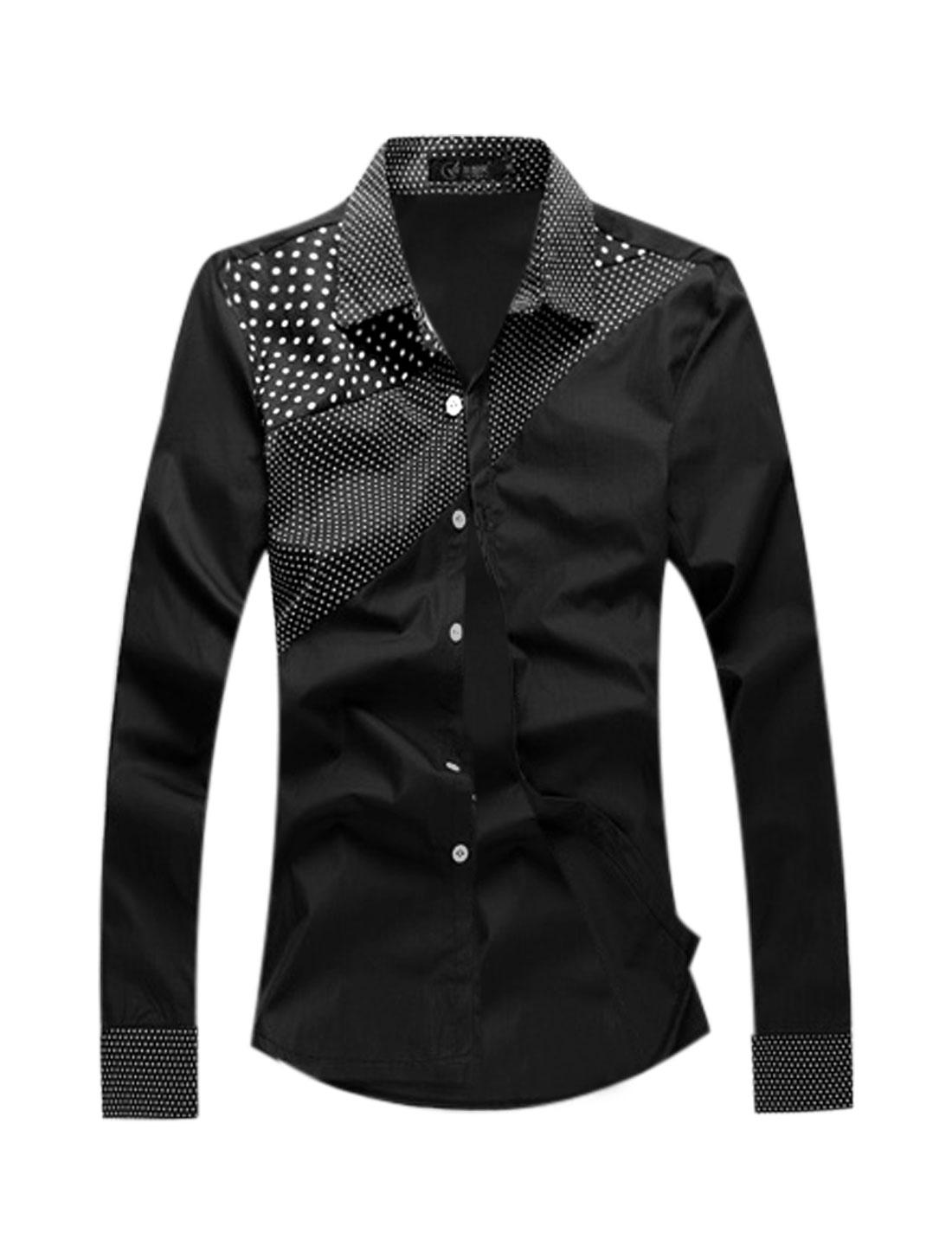 Man Dots Prints Point Collar Long Sleeves Button Closure Shirt Black M