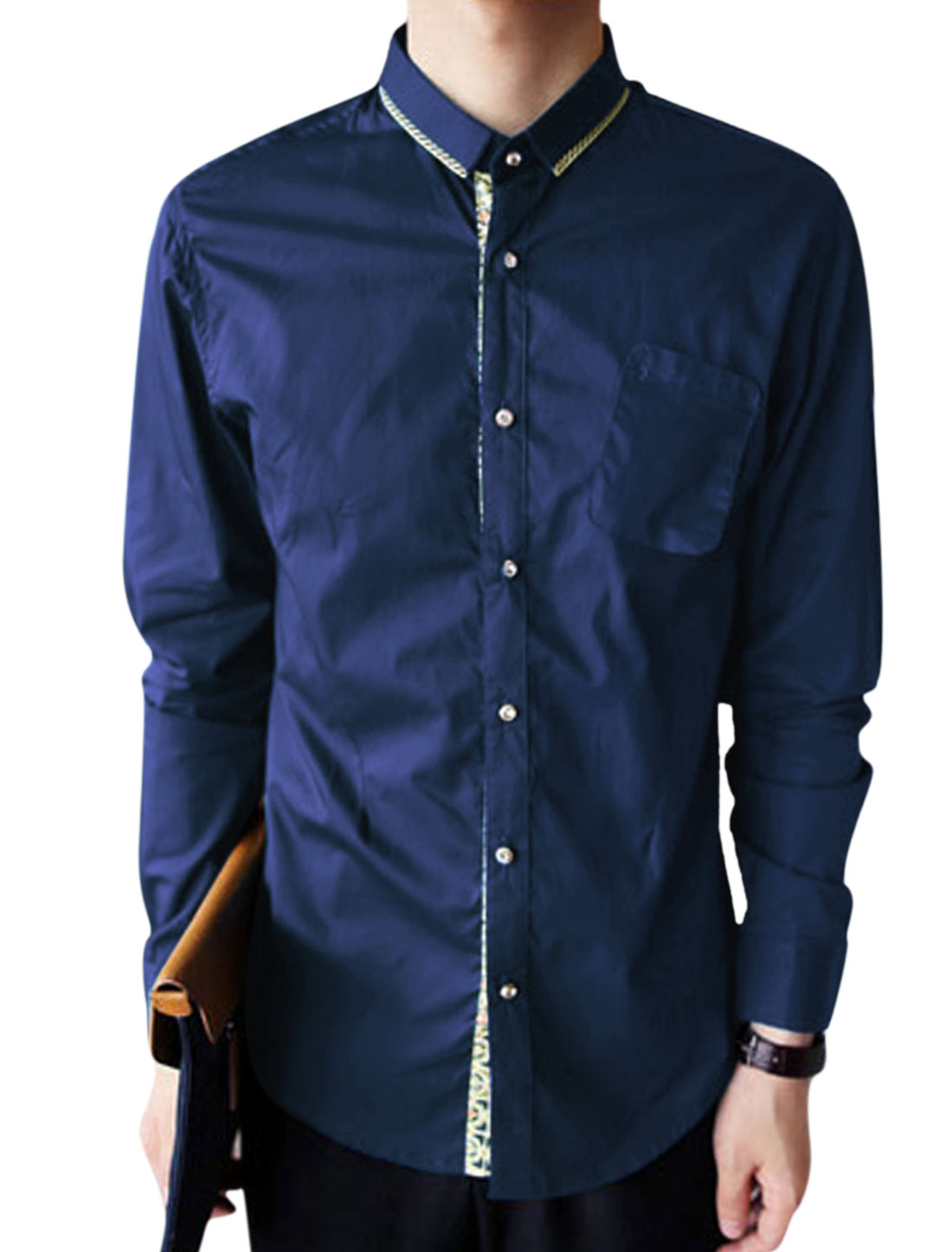Men Long Sleeve Point Collar Button Closure Shirt Navy Blue Beige M