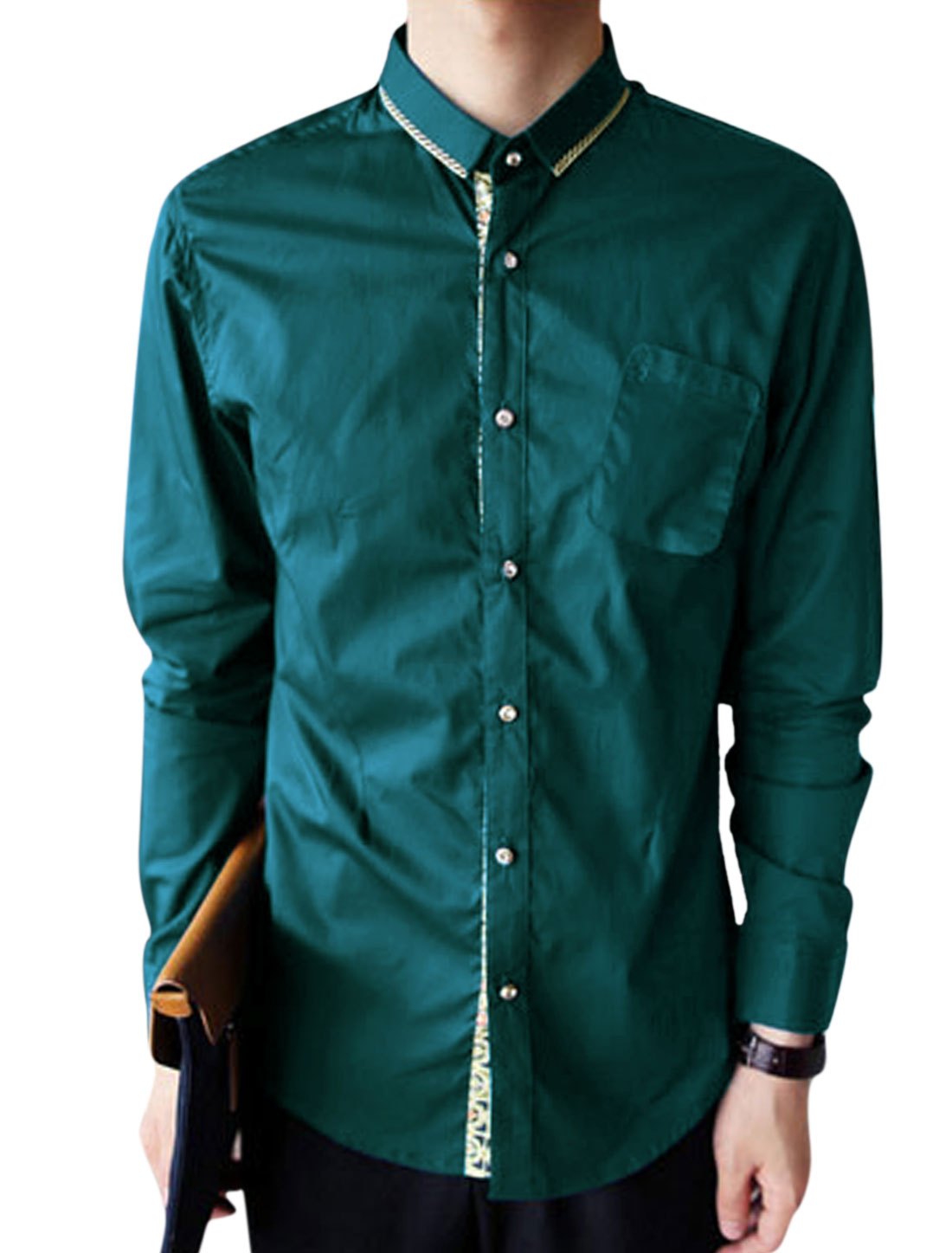 Men Long Sleeve Slim Fit Button Down Casual Shirts Dark Teal M