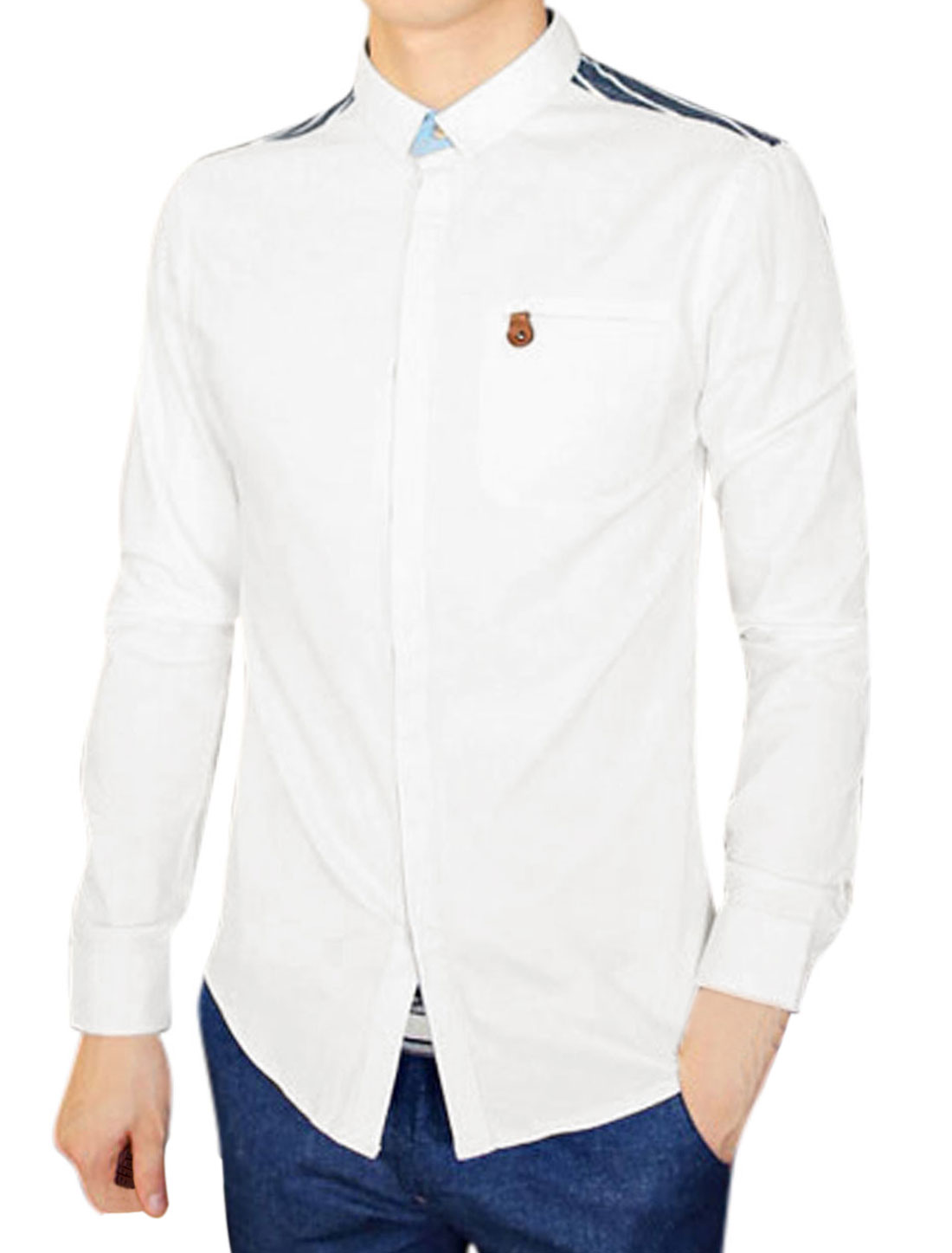 Men Long Sleeve Button Down Stripes Shirt Tops Navy Blues White M