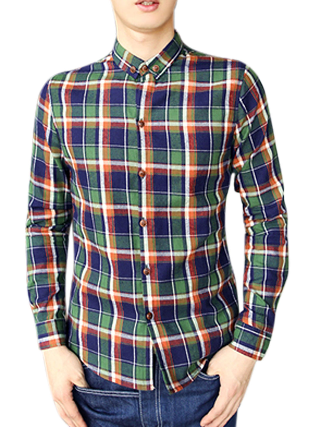 Men Long Sleeve Point Collar Checks Casual Shirts Green Navy Blue M