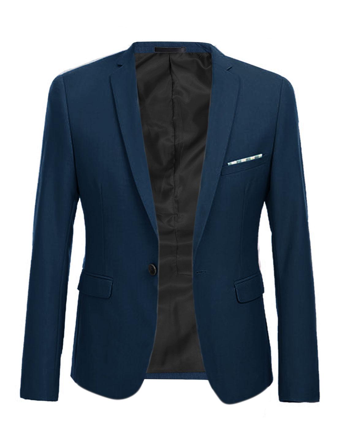 Men Single Breasted Long Sleeve Plaids Blazer Jackets Navy Blue M
