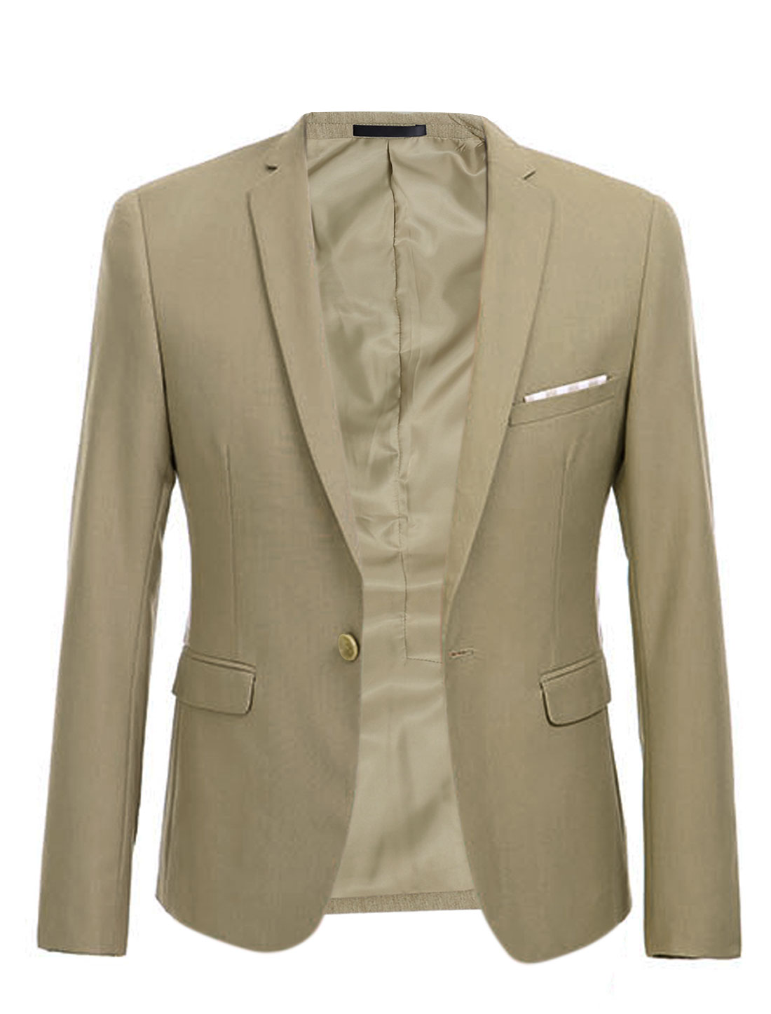 Men Single Breasted Notched Lapel Plaids Blazer Jacket Khaki M