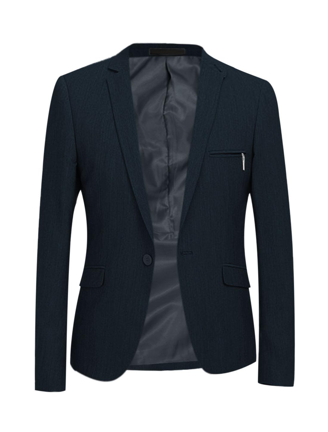 Men Padded Shoulder Two Flap Pockets Front Long Sleeves Blazer Dark Blue M