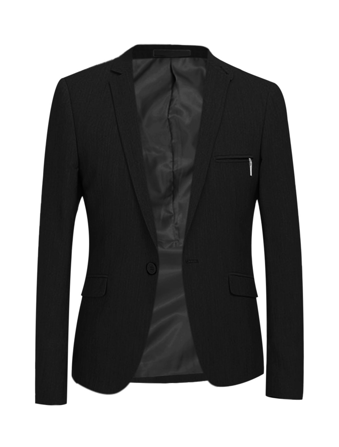 Men Notched Lapel One Button Closure Long Sleeves Blazer Black M
