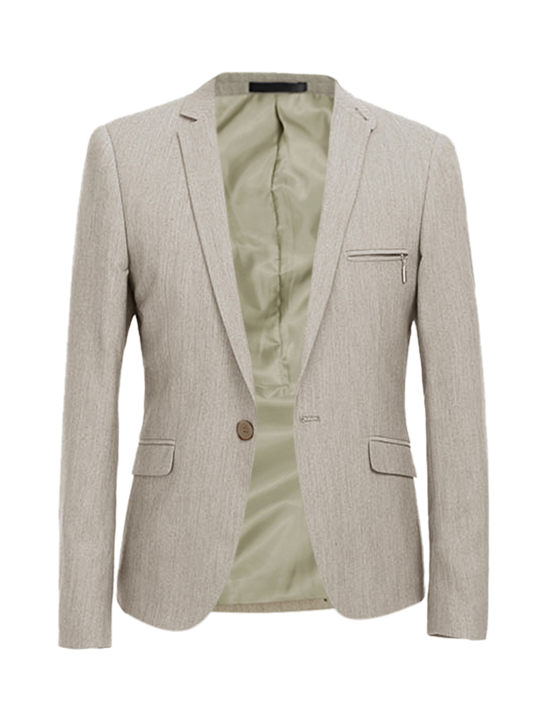 Men Notched Lapel Two Flap Pockets Front Long Sleeves Blazer Beige M