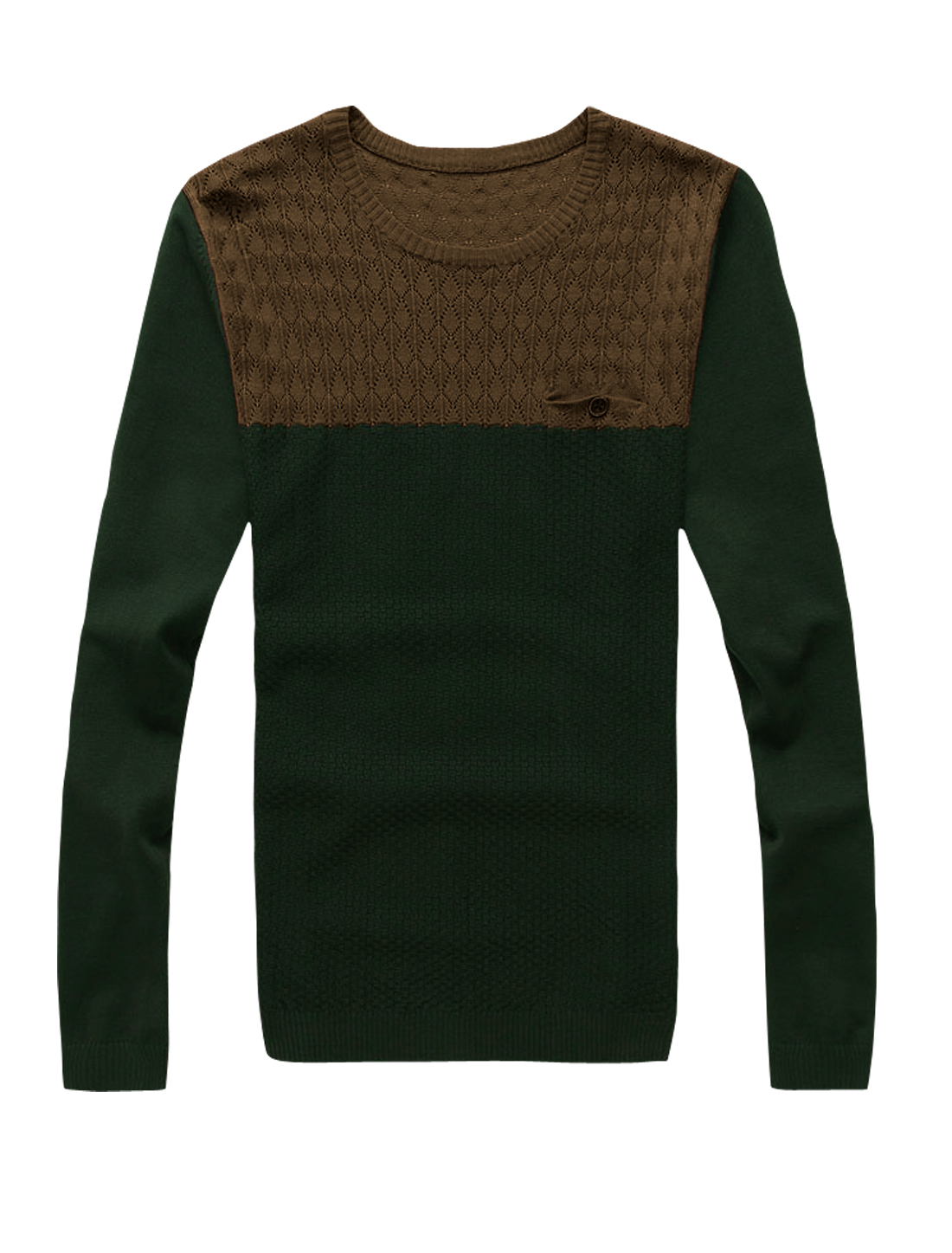 Men Argyle Design Contrast Color Casual Jumper Dark Green Coffee M