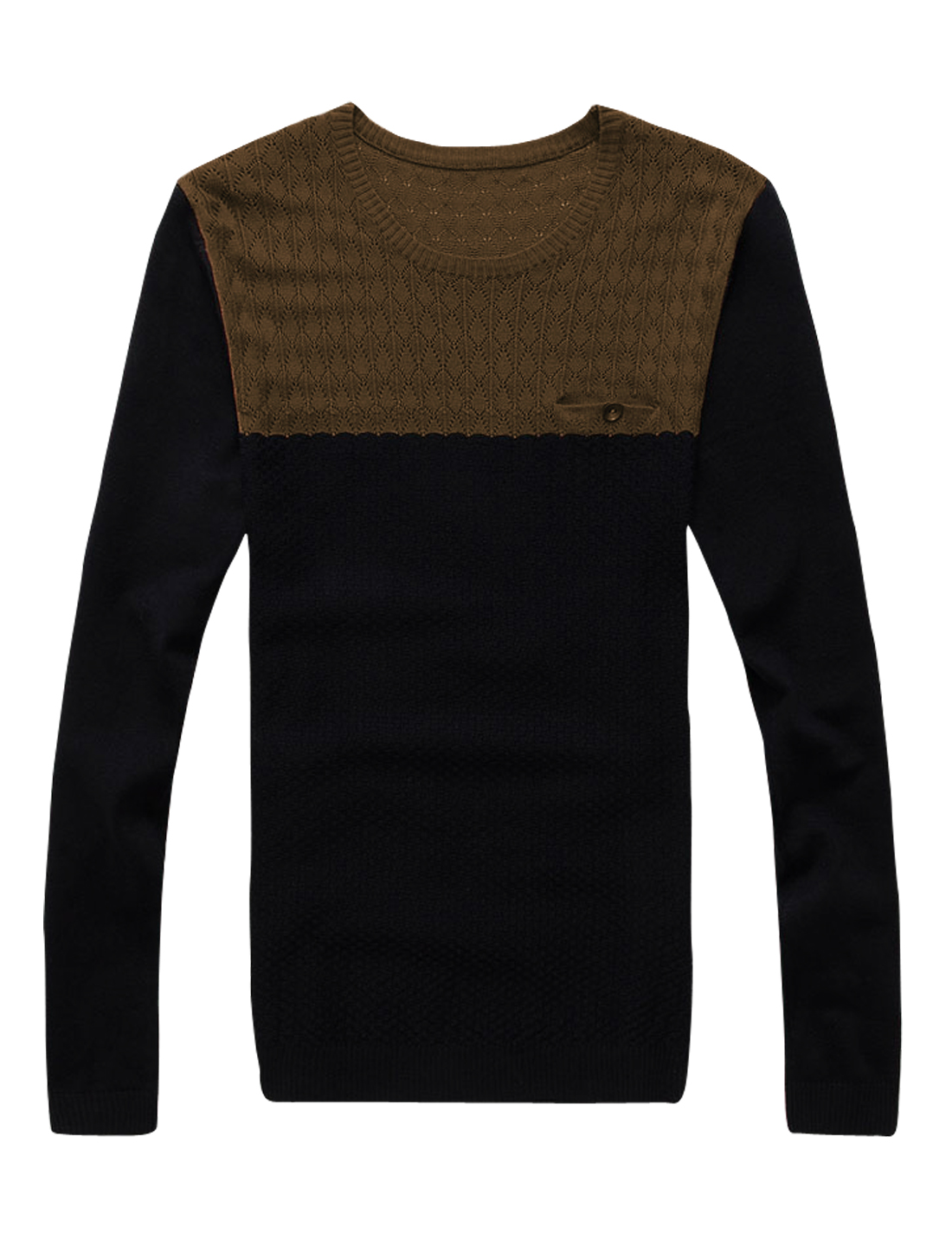 Men Argyle Design Contrast Color Round Neck Pullover Sweater Coffee Black M
