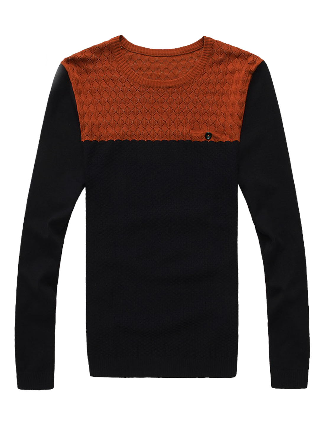 Men Argyle Design Contrast Color Long Sleeves Pullover Sweater Orange Black M