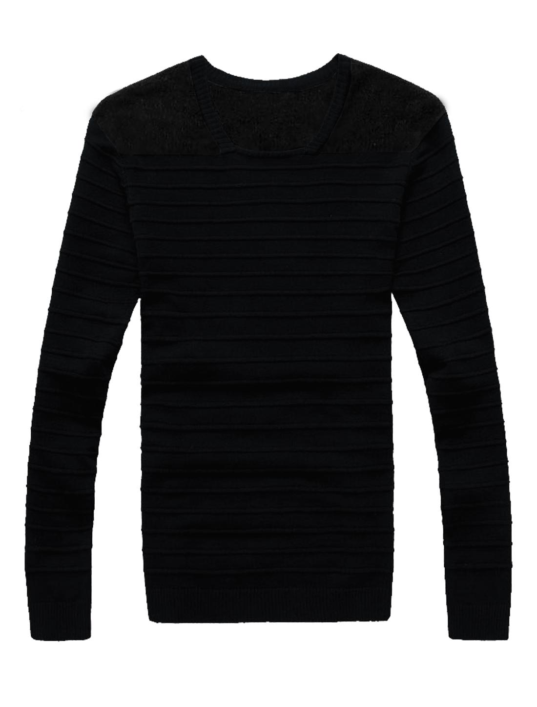 Men Plush Panel Stripes Design Square Neck Long Sleeves Jumper Black M