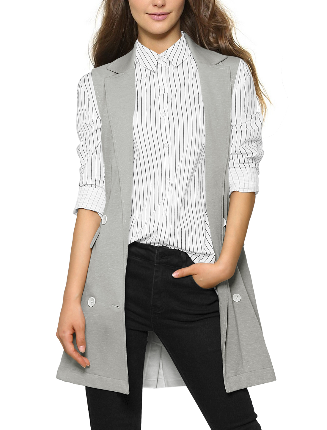 Women Double Breasted Vent Back Casual Long Vest Light Gray L