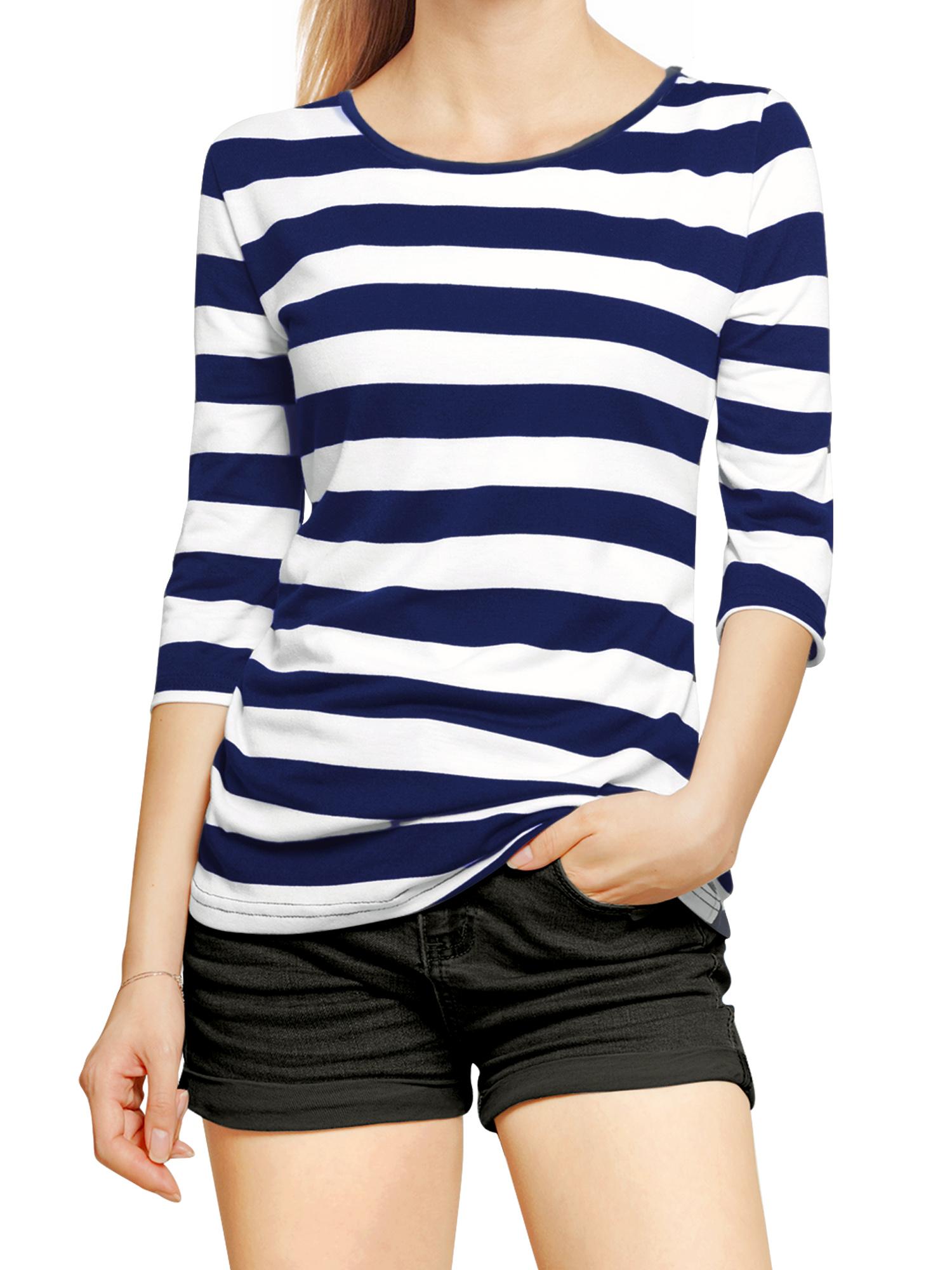 Women Half Length Sleeves Boat Neck Bold Striped Top Dark Blue White XL