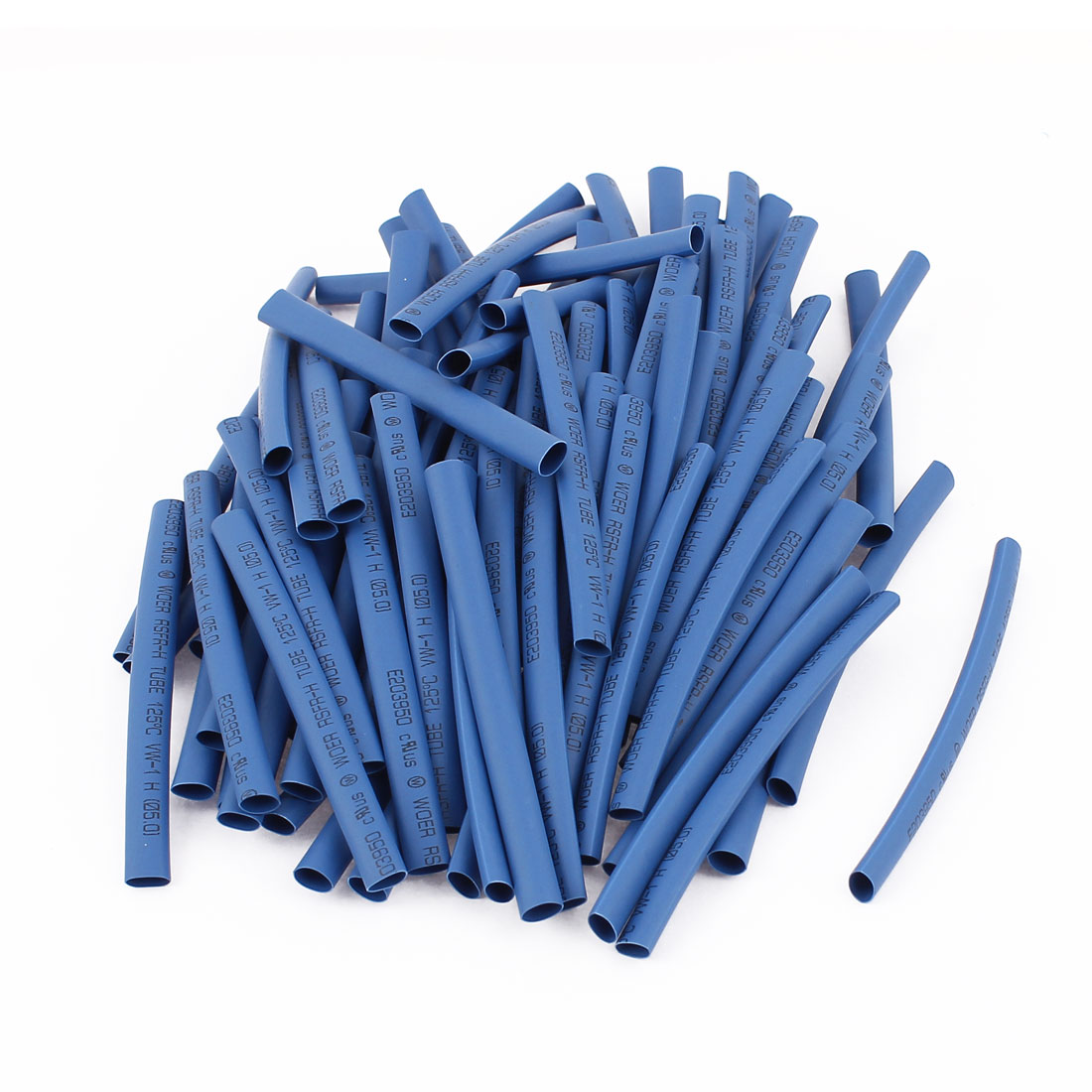 100pcs 5mm Dia Polyolefin Heat Shrink Tubing Tube Wire Wrap Sleeve 90mm Blue