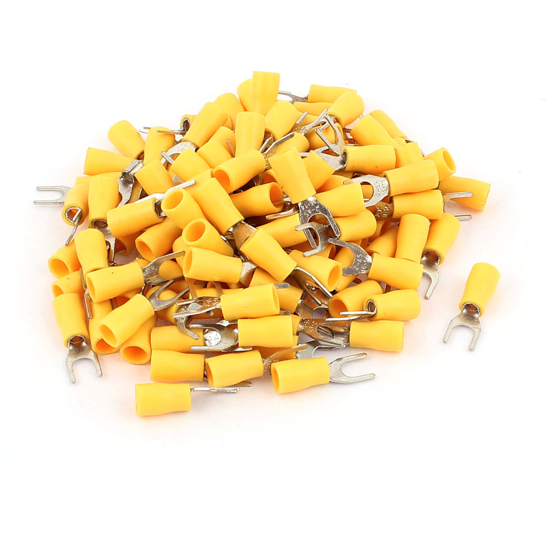 120pcs SVS2-4 Fork Spade Insulated Wire Terminal Connectors Yellow for AWG 16-14