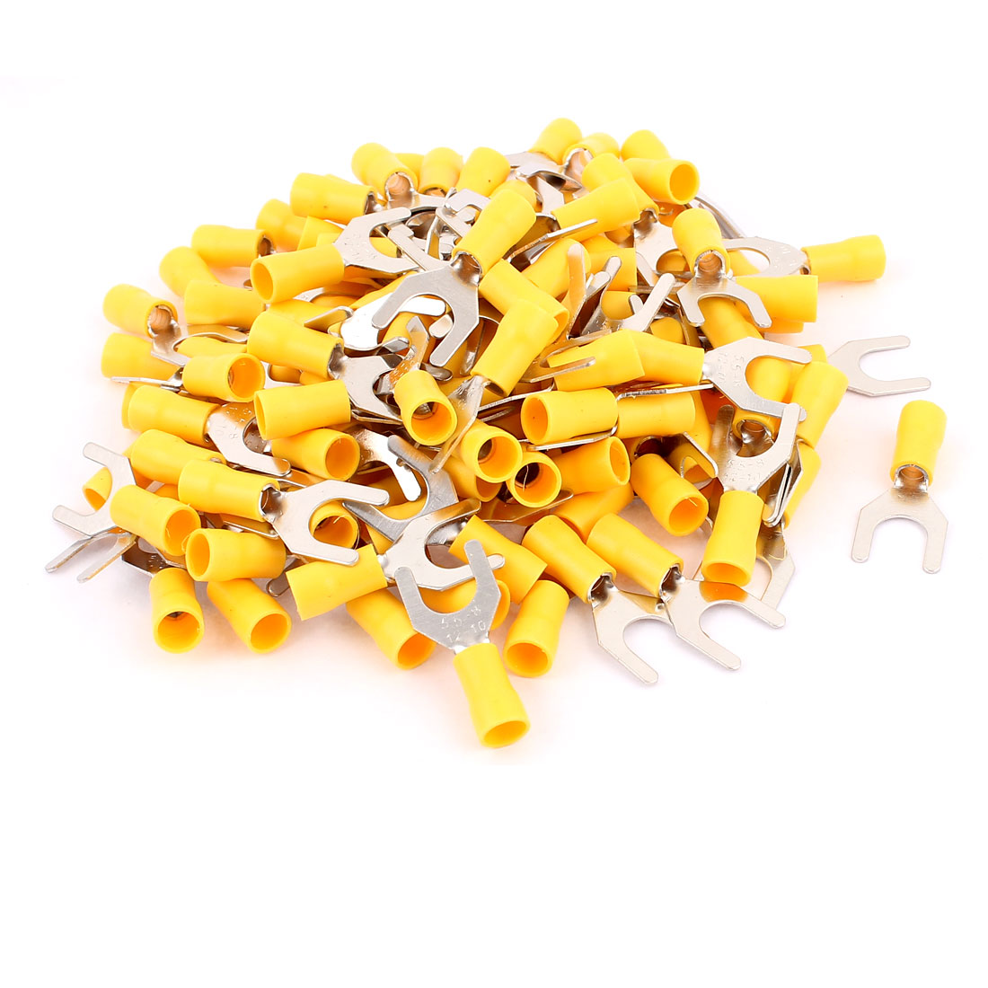 120pcs SV5.5-8 Fork Spade Insulated Wire Terminal Connectors Yellow for AWG 12-10