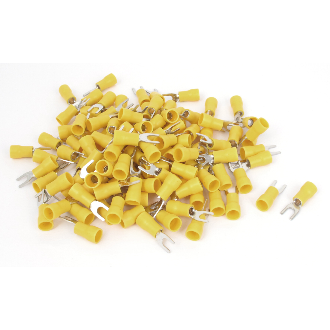 120pcs SVS5.5-4 Fork Insulated Wire Terminal Connectors Yellow for AWG 12-10