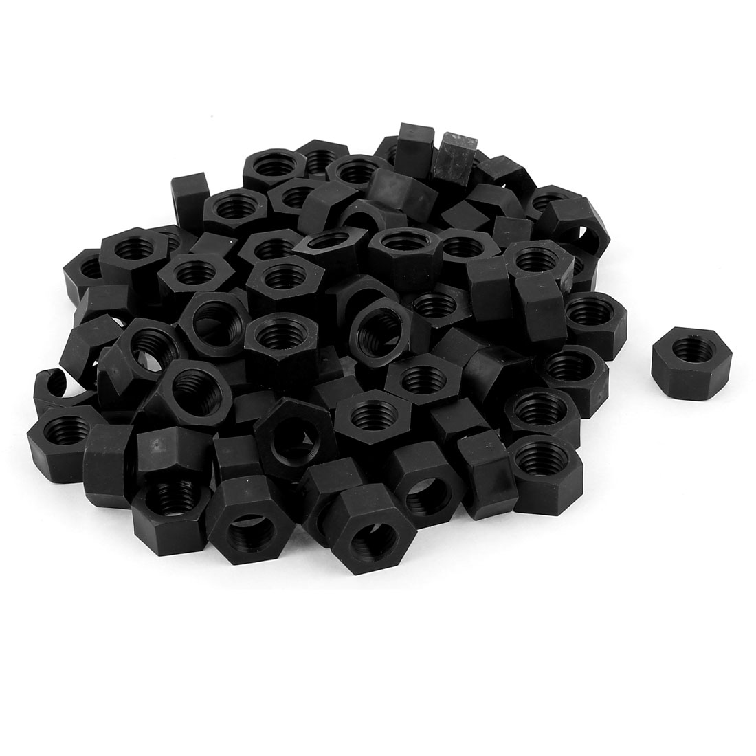 Metric M12 Thread Nylon Insert Lock Screw Fastener Hexagon Hex Nuts Black 100pcs