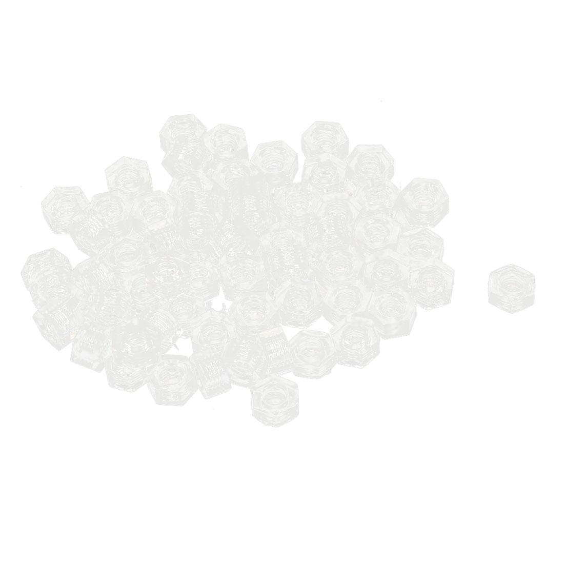 Metric M3 Nylon Hexagon Head Insert Lock Screw Fastener Hex Nuts Clear 100pcs