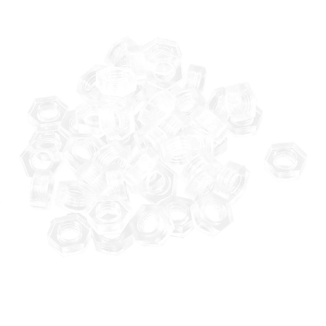 Metric M4 Nylon Hexagon Head Insert Lock Screw Fastener Hex Nuts Clear 50pcs