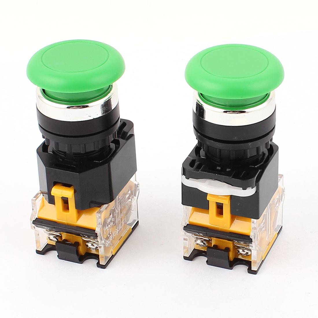 2Pcs 380V 10A DPST Momentary Mushroom Head Push Button Switch Green