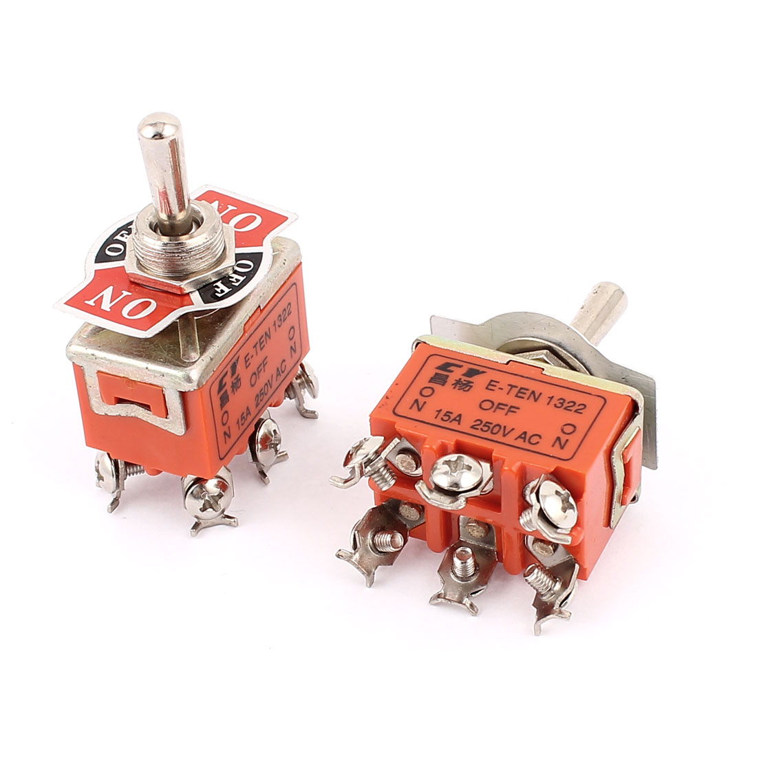 2Pcs AC 250V 15A 12mm Mounted Thread DPDT ON/OFF/ON Latching Toggle Switch