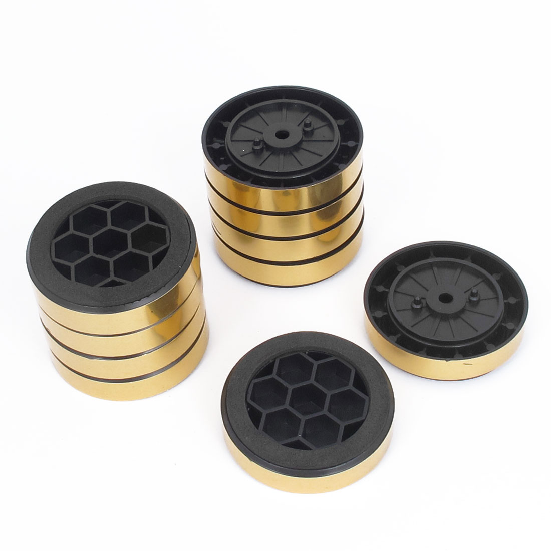 10pcs ABS Machine PC Amplifier Project Box Speaker Cabinet Feet Pads Gold Tone
