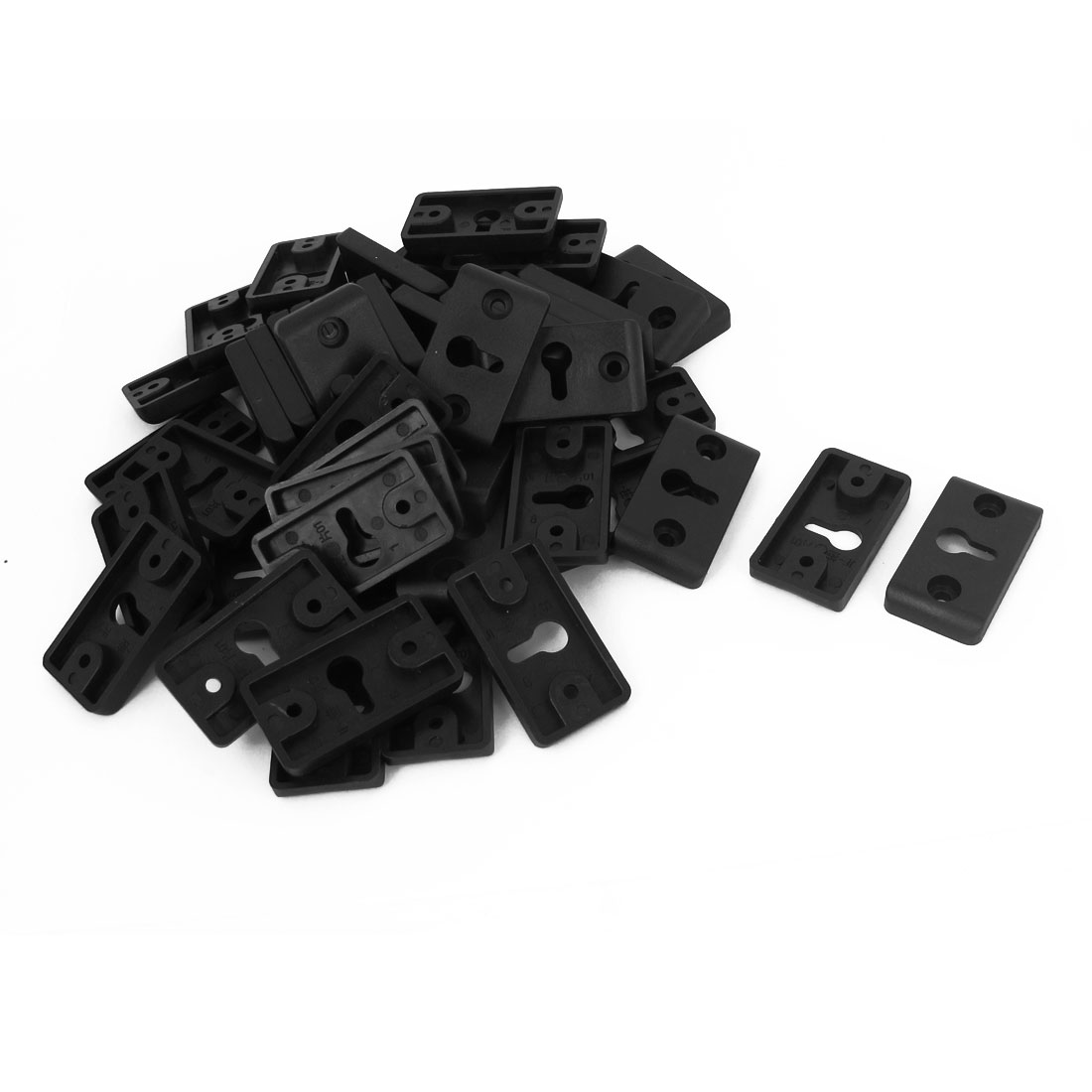 Rectangle Plastic Amplifier Speaker DIY Wall Mount Hook Hanger Plate Black 50pcs