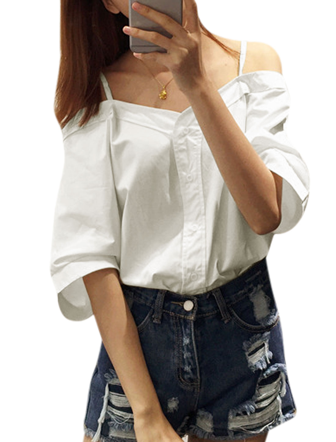 Ladies 3/4 Sleeve Cut Out Shoulder Button Down Casual Blouse White XS