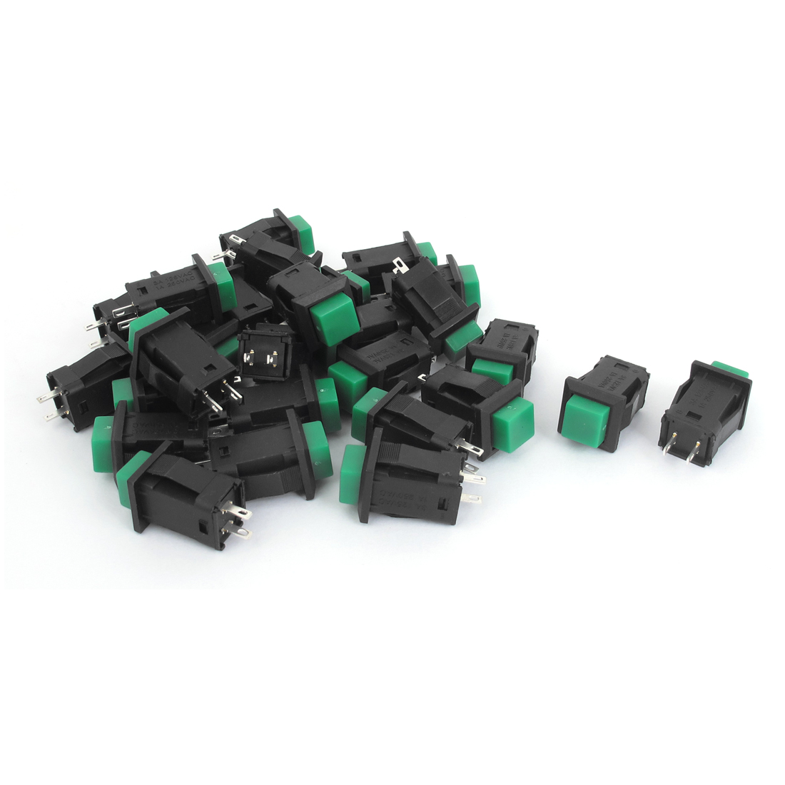 AC 125V 3A AC 250V 1A SPST Momentary Push Button Switch Black Green 50Pcs