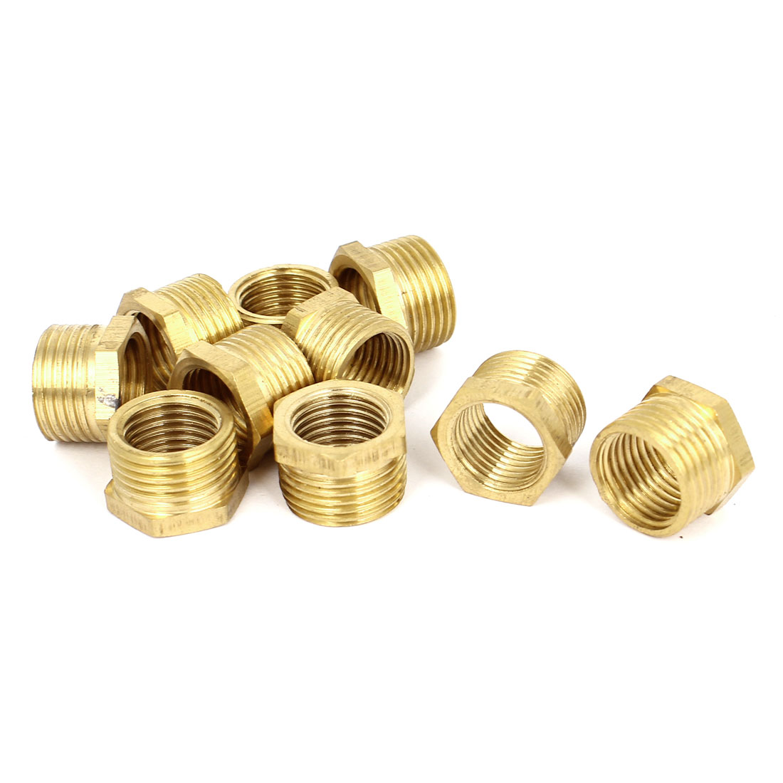 3/8BSP Male x 1/4BSP Female Brass Pipe Water Gas Reducing Hex Bushing 10pcs