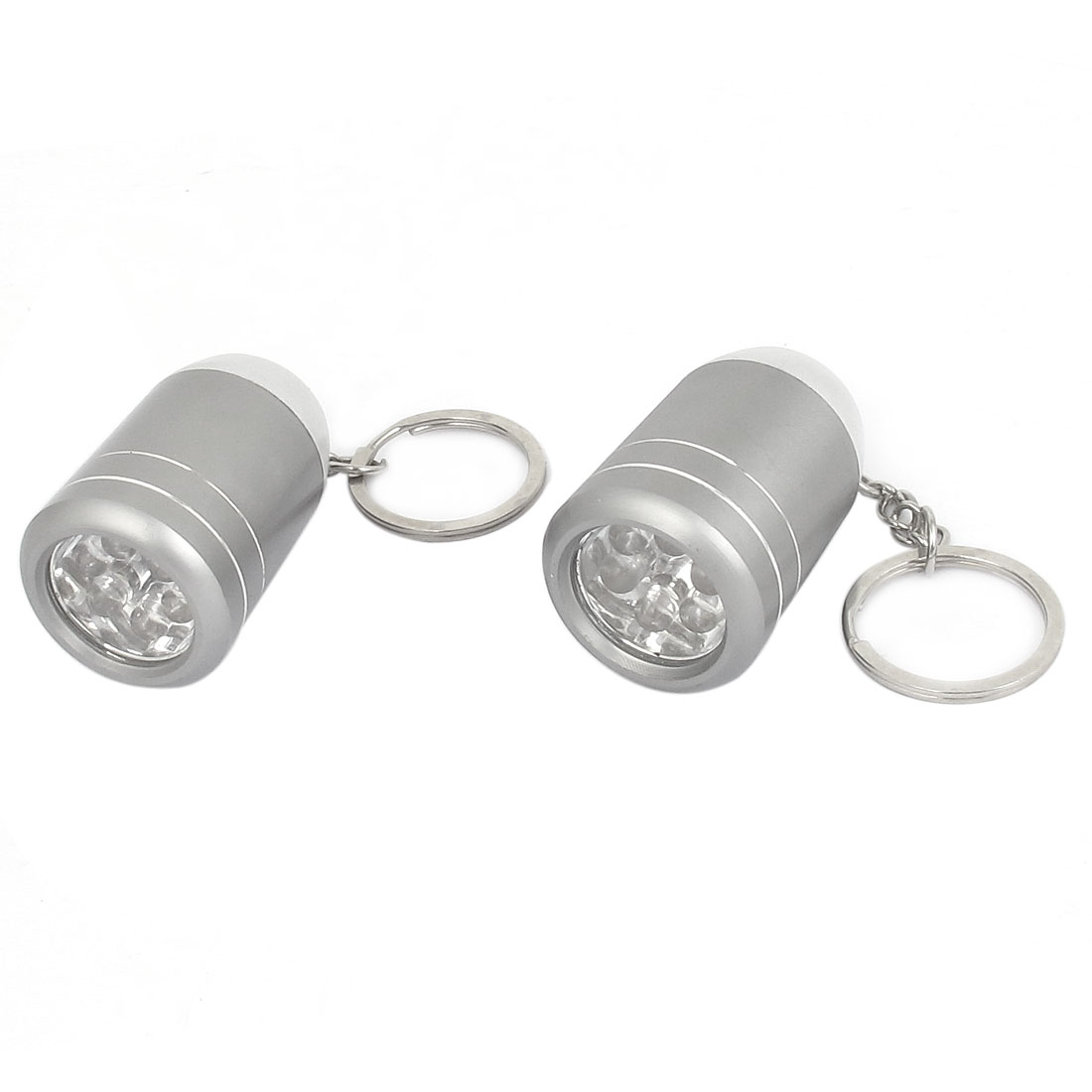 2pcs Gray Aluminum Alloy Shell White Light 6 LEDs Mini Flashlight Torch