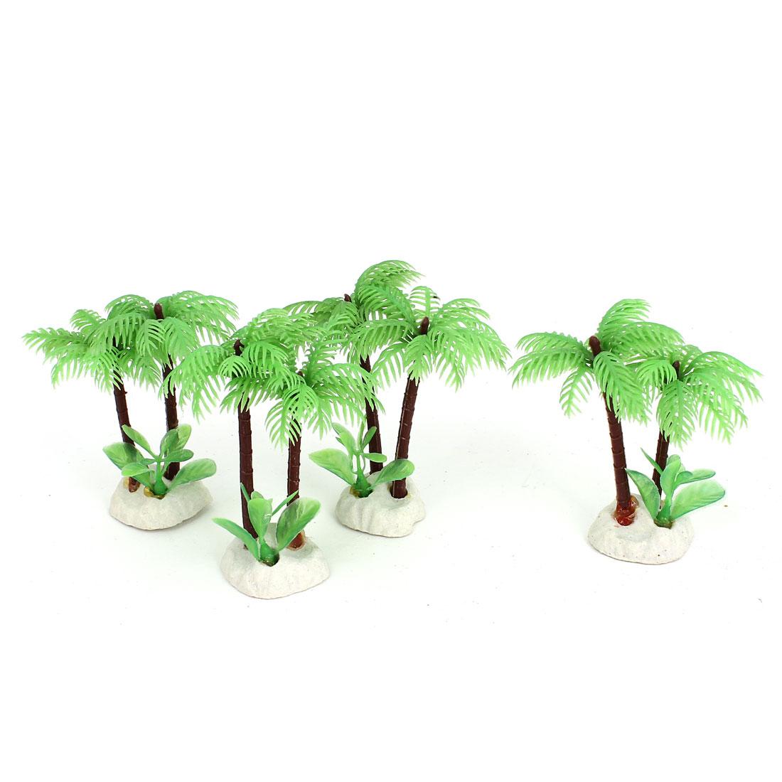 "Aquarium Plastic Emulational Coconut Tree Water Grass Plant 3"" Height 4pcs Green"