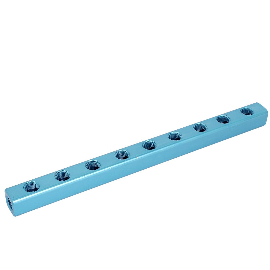 1/4BSP 9 Way 12 Ports Air Pneumatic Pipe Inline Aluminum Manifold Block Splitter