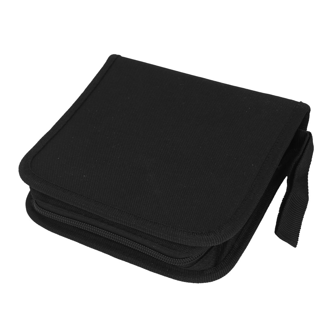 Black Plastic Cover Hand Carrying Strap Zip Closure Squared 40pcs DVD CD Holder Bag