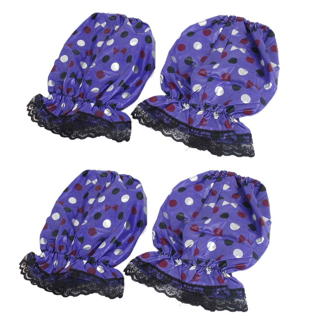 Lady Dots Pattern Lace Trim Elastic Cuff Oversleeve Sleevelet Purple 2 Pair