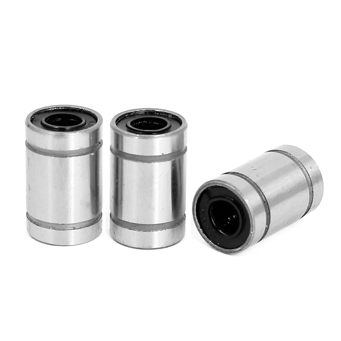 LM6UU Silver Tone Carbon Steel Sealed Rubber Cylinder Shaped Linear Ball Bearing 3pcs