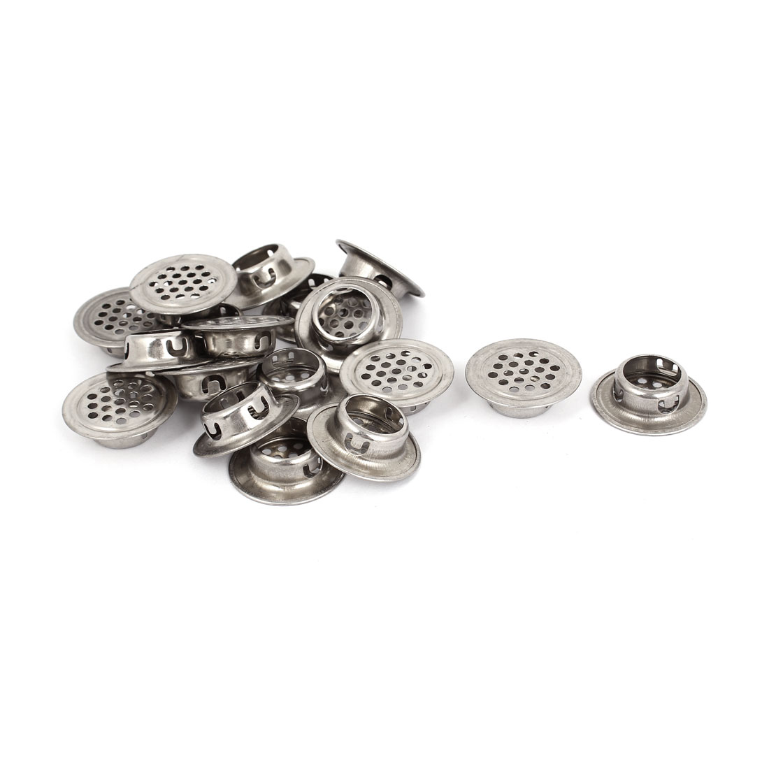 18 Pcs Stainless Steel Flat Round Shaped Mesh Hole Cabinet Air Vent Louver 15mm