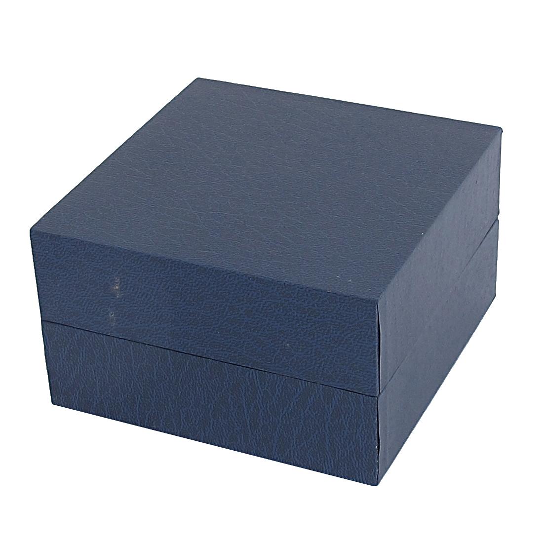 Dark Blue Rectangle Shape Cardboard Watch Holder Box Casket Case Containner