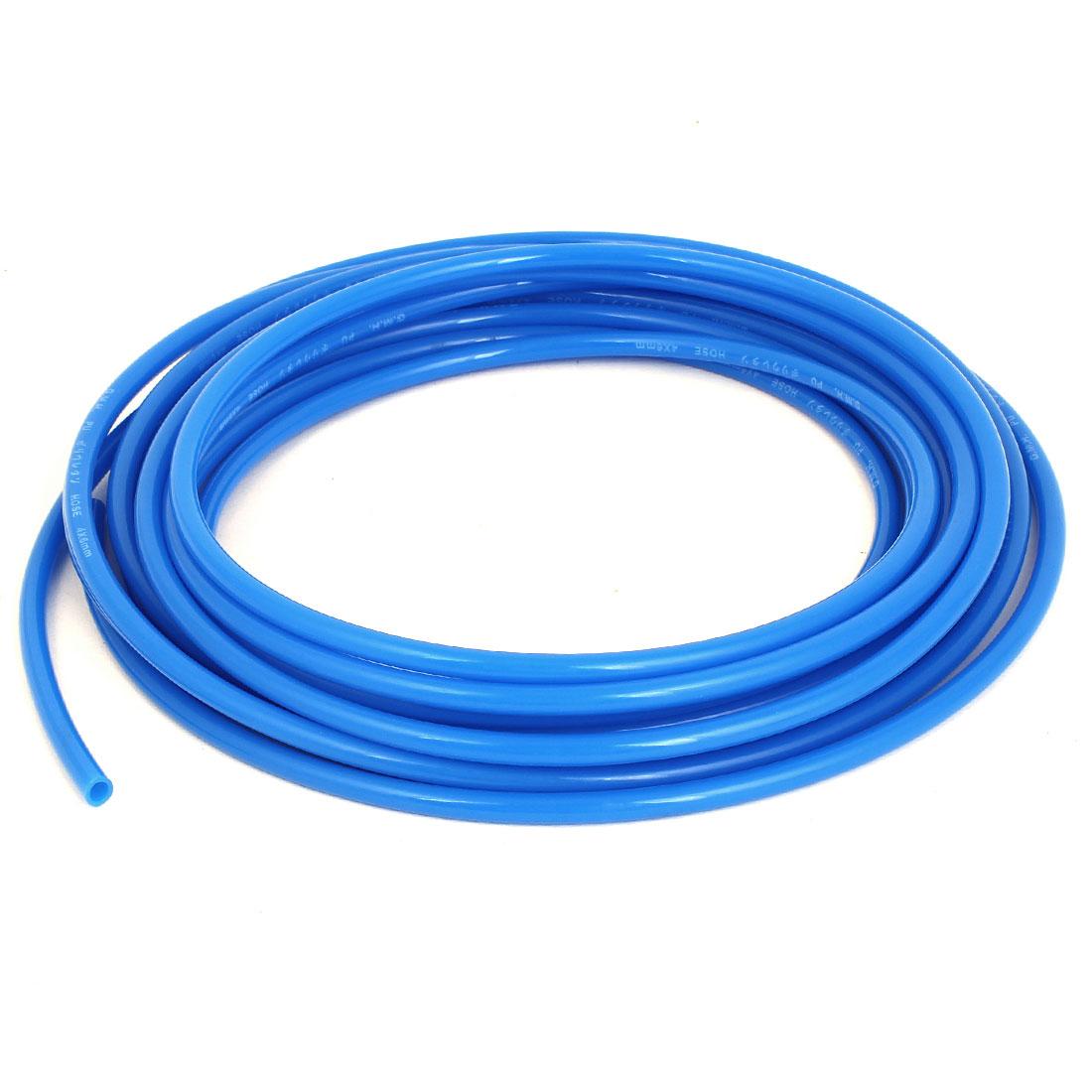 6mm OD x 4mm Inner Dia 7 Meters Long Blue PU Pneumatic Air Tubing Pipe Hose