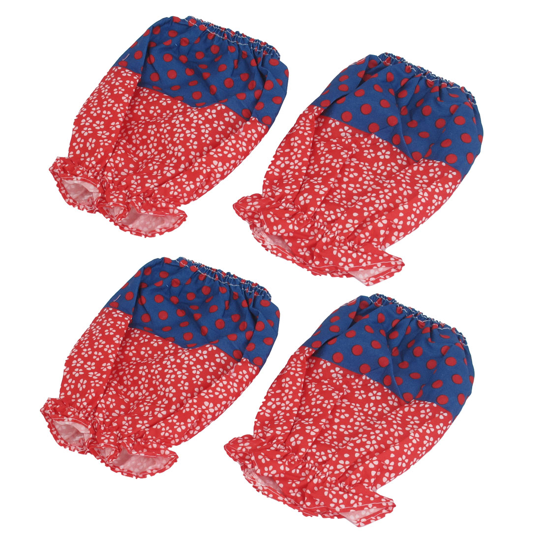 Lady Women Floral Pattern Elastic Cuff Oversleeve Sleevelet Red Blue 2 Pair