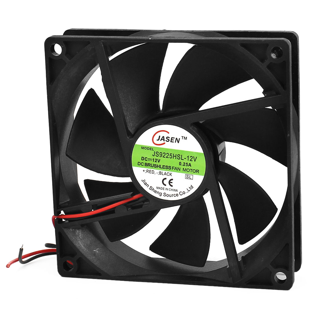DC 12V 0.25A 2-Wire Brushless 90mm x 90mm x 25mm Cooling Fan for Case Radiator