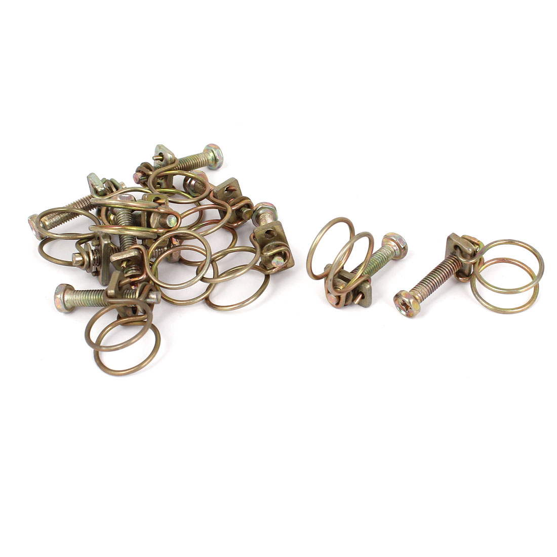 Adjustable Range Steel Wire Water Tube Hose Clamp Bronze Tone 10pcs